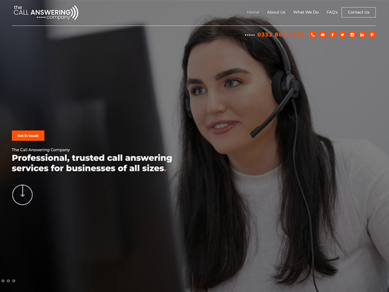 call answer company website screen